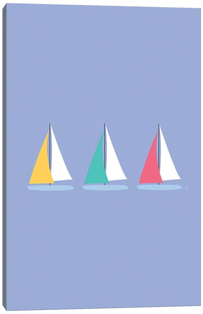 Colorful Summer Sailboats Canvas Art Print