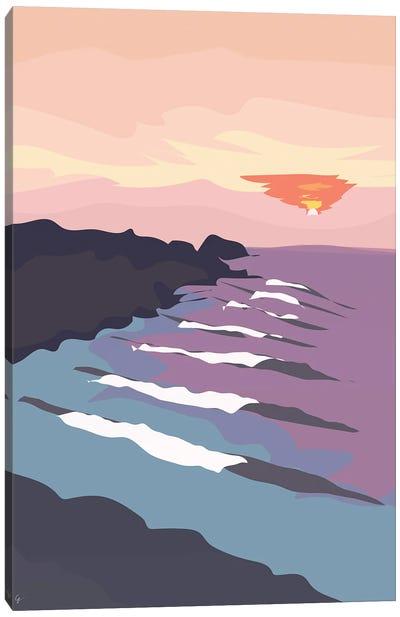 Chicama, Peru Ocean Waves At Sunset Canvas Art Print
