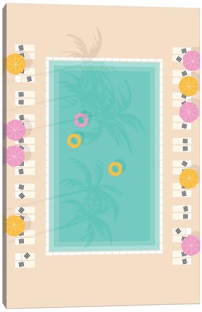 Palm Springs Pool Aerial Canvas Art Print