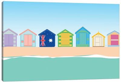 Brighton Beach Bathing Boxes, Melbourne, Australia Canvas Art Print