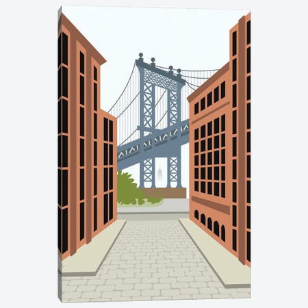 Manhattan Bridge, DUMBO, Downtown Brooklyn, NYC Canvas Print #ELY60} by Lyman Creative Co. Canvas Artwork