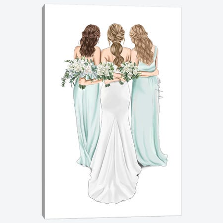 Bride & Bridesmaids Canvas Print #ELZ103} by Elza Fouche Canvas Art Print