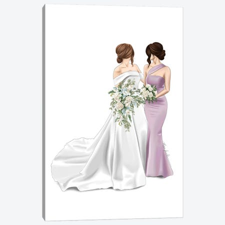 Bride & Maid Of Honour Canvas Print #ELZ106} by Elza Fouche Canvas Art