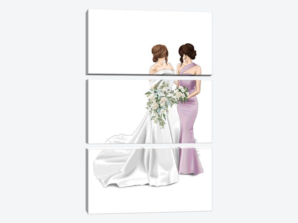 Bride & Maid Of Honour by Elza Fouche 3-piece Canvas Art Print