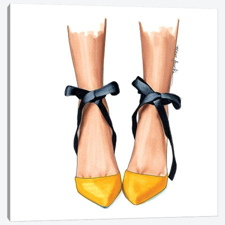 Black & Yellow Heels Canvas Print #ELZ10} by Elza Fouche Canvas Artwork