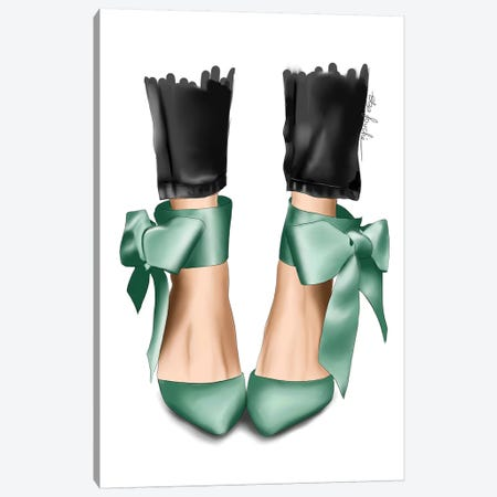 Mint Bow Heels Canvas Print #ELZ114} by Elza Fouche Art Print