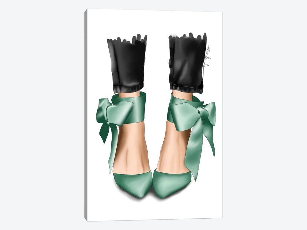 Mint Bow Heels by Elza Fouche 1-piece Canvas Art