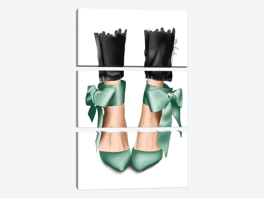 Mint Bow Heels by Elza Fouche 3-piece Canvas Art