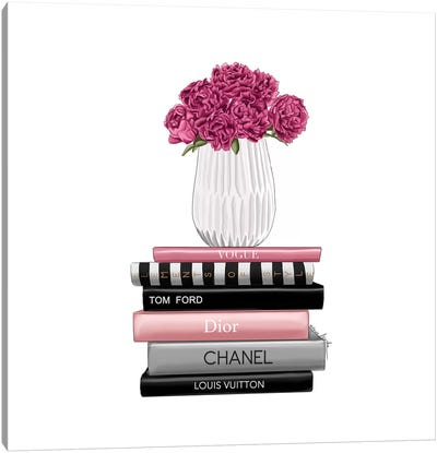 Books And Peonies Canvas Art Print