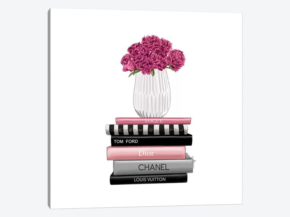 Books And Peonies by Elza Fouche 1-piece Canvas Art