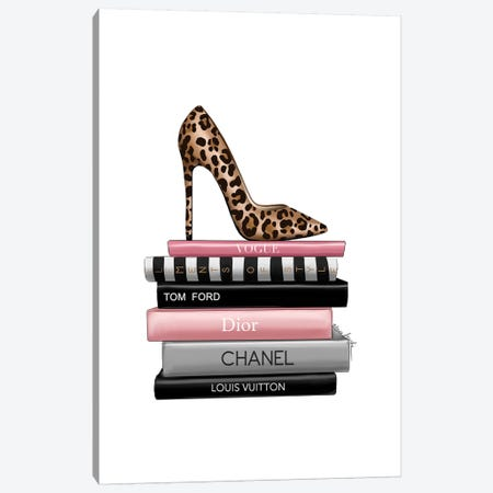 Leopard Heels And Books 3-Piece Canvas #ELZ125} by Elza Fouche Canvas Artwork