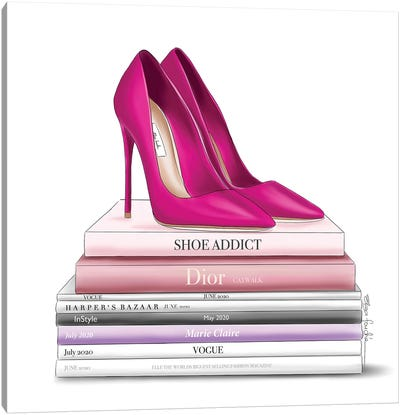 Hot Pink Shoes & Books Canvas Art Print