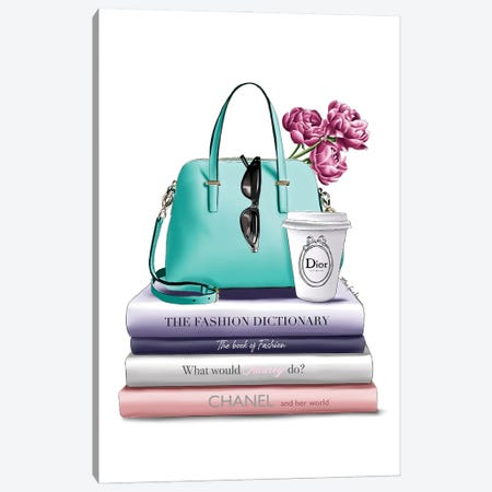 Books & Green Bag Canvas Print #ELZ155} by Elza Fouche Canvas Art Print