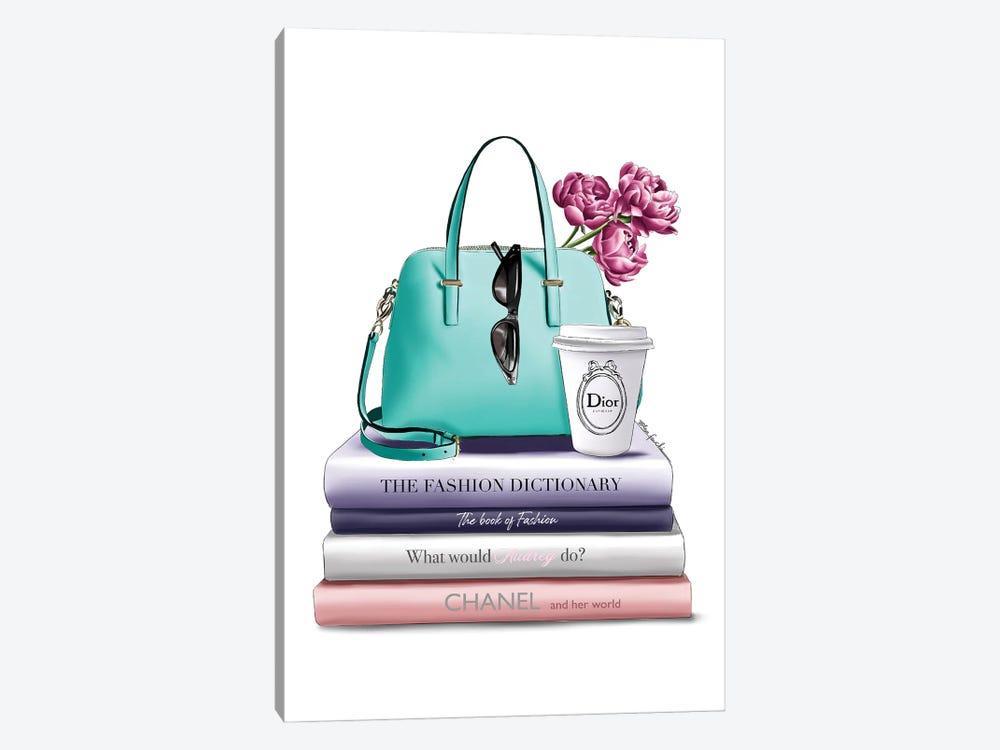 Books & Green Bag by Elza Fouche 1-piece Canvas Print