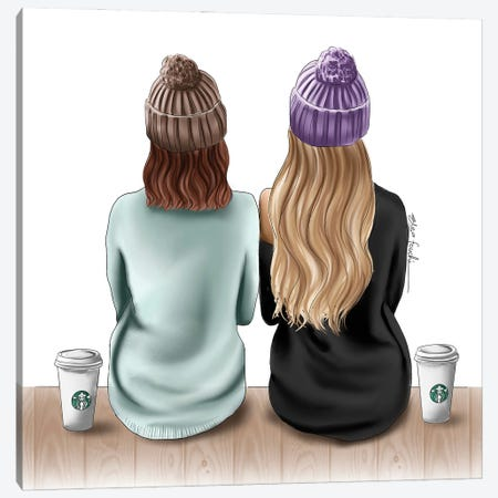 Besties & Starbucks Drinks Canvas Print #ELZ163} by Elza Fouche Canvas Art Print