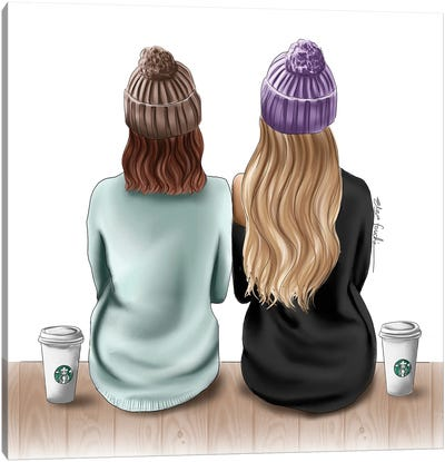 Besties & Starbucks Drinks Canvas Art Print