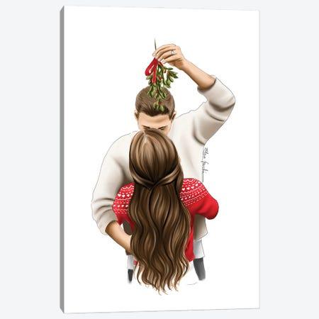 Kiss Me Under The Mistletoe Canvas Print #ELZ170} by Elza Fouche Canvas Artwork