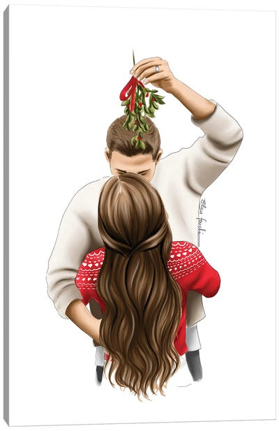 Kiss Me Under The Mistletoe Canvas Art Print