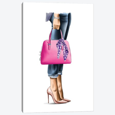 Pink Handbag Canvas Print #ELZ171} by Elza Fouche Canvas Wall Art