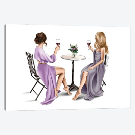 Red wine & Dresses Canvas Print #ELZ172} by Elza Fouche Canvas Wall Art