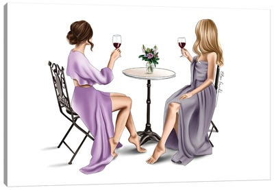 Red wine & Dresses Canvas Art Print