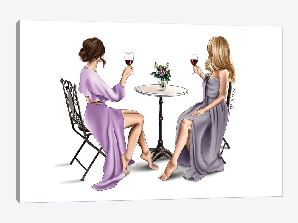 Red wine & Dresses by Elza Fouche 1-piece Canvas Wall Art
