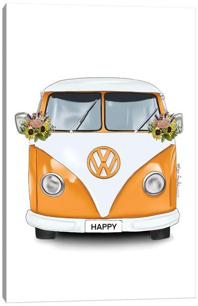 Happy Kombi Orange Canvas Art Print