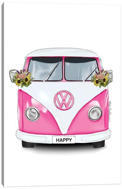 Happy Kombi Pink Canvas Art Print
