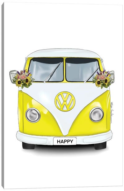 Happy Kombi Yellow Canvas Art Print