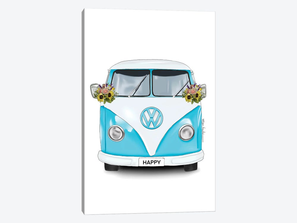 Happy Kombi Blue 1-piece Canvas Art