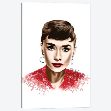 Audrey In Red Canvas Print #ELZ182} by Elza Fouche Canvas Art Print