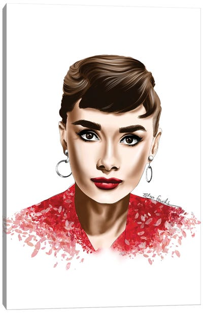 Audrey In Red Canvas Art Print
