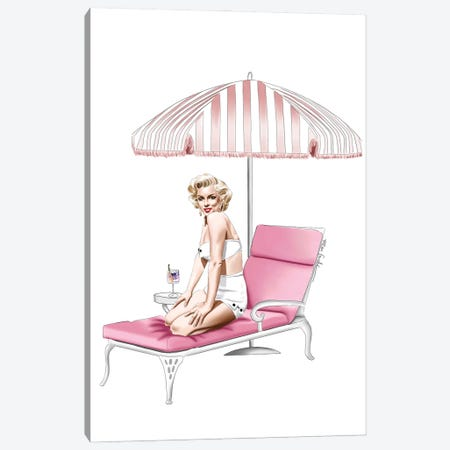 Marilyn At The Resort Canvas Print #ELZ183} by Elza Fouche Canvas Art Print