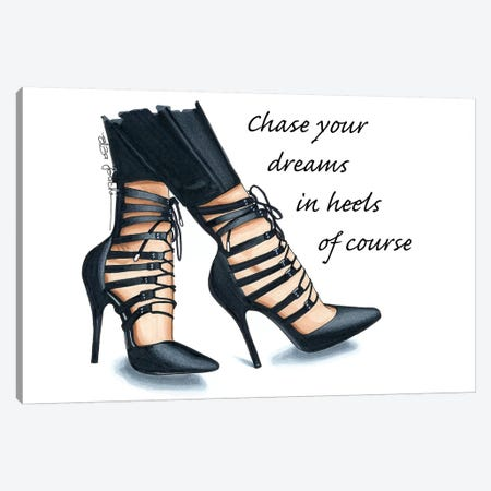 Chase Your Dreams In Heels Canvas Print #ELZ19} by Elza Fouche Canvas Artwork