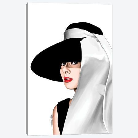 Audrey & Her Hat Canvas Print #ELZ201} by Elza Fouche Canvas Wall Art