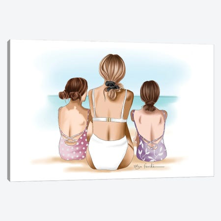 Mother & Daughters Beach Day Canvas Print #ELZ202} by Elza Fouche Canvas Art