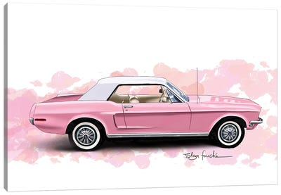Pink Mustang Canvas Art Print
