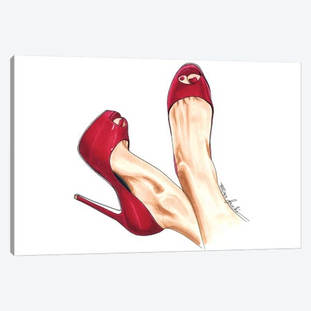 Cherry Heels Canvas Print #ELZ21} by Elza Fouche Canvas Art Print