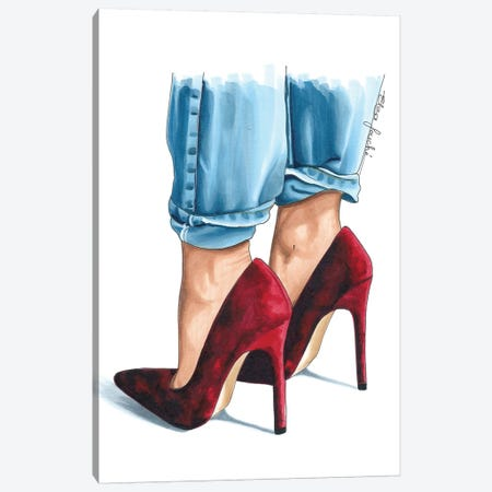 Cherry Velvet Heels Canvas Print #ELZ22} by Elza Fouche Art Print