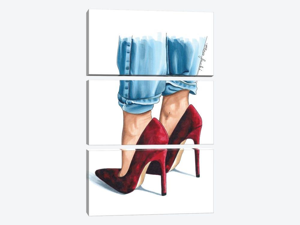 Cherry Velvet Heels by Elza Fouche 3-piece Canvas Wall Art