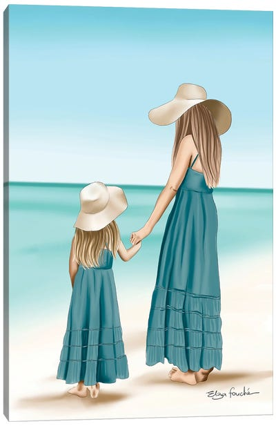 Mother & Daughter Matching At The Beach Canvas Art Print