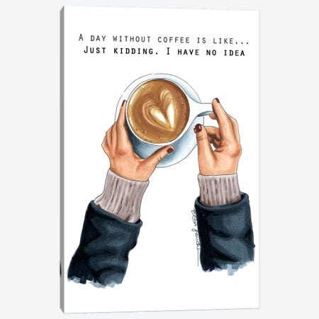 Coffee Addict Canvas Print #ELZ24} by Elza Fouche Canvas Artwork