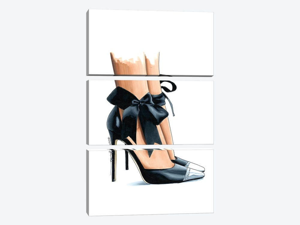 Ebony Bow Heels by Elza Fouche 3-piece Canvas Art