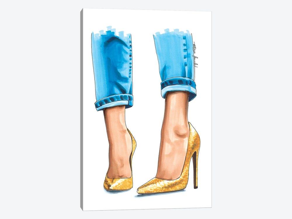 Golden Heels by Elza Fouche 1-piece Art Print