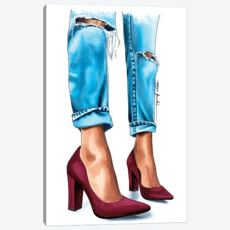 Jeans & Heels Canvas Print #ELZ32} by Elza Fouche Canvas Wall Art