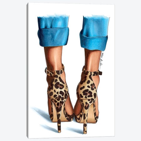 Jeans & Leopard Canvas Print #ELZ33} by Elza Fouche Canvas Artwork