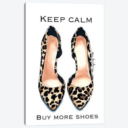 Keep Calm, Buy More Shoes Canvas Print #ELZ35} by Elza Fouche Canvas Art Print