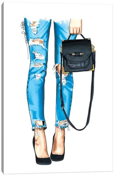 Ripped Jeans & Bag Canvas Art Print