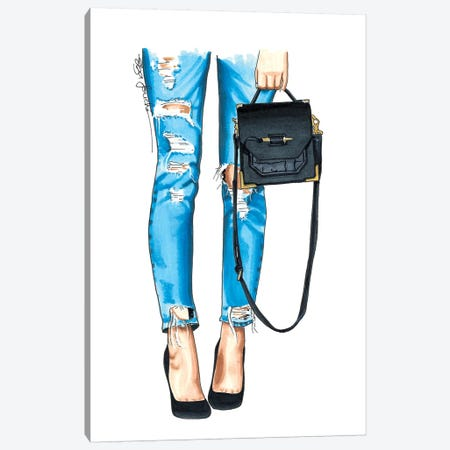 Ripped Jeans & Bag Canvas Print #ELZ51} by Elza Fouche Canvas Artwork