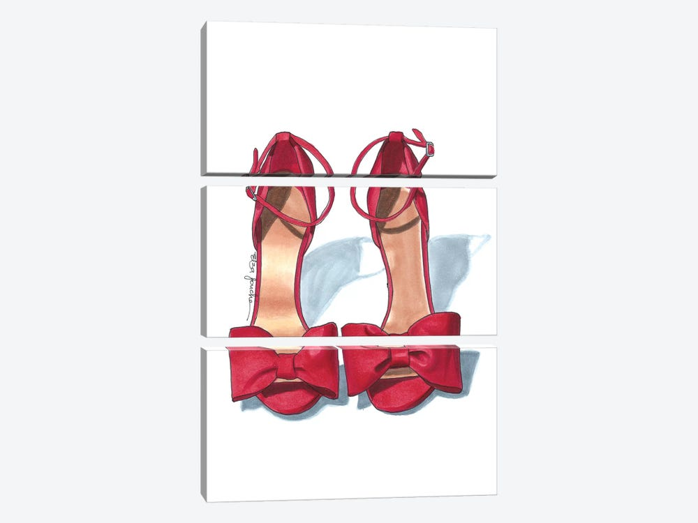 Scarlet Heels by Elza Fouche 3-piece Canvas Wall Art